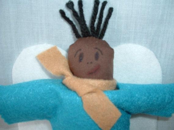 "Afro-American ""Scrappy"" Boy Angel - Original Design OOAK"