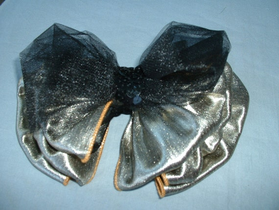Vintage Recycled Upcycled Refashioned Hairbow - Gold & Black Party Bow