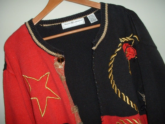 "Vintage Sweater Upcycled Eco-Friendly Repurposed Oversized 22/24 Red, Black & Gold from ""Pretty in Plus"""