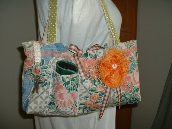 Vintage Fabric Tote/Market Bag - Large w/3 Pockets