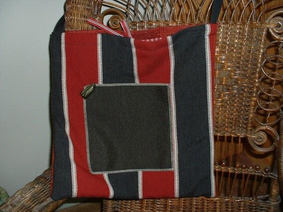 Tapestry Tote, Large Market, Lined, Shoulder Bag, Purse, BoHo Bag, Black/Burgundy