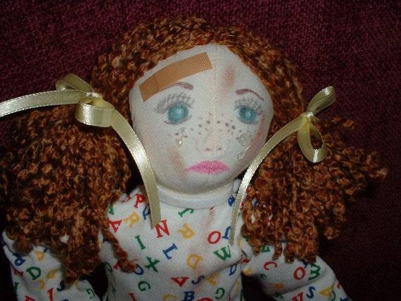 """Handmade Cloth Doll w/Teddy Bear - """"Uh Oh---Boo Boo"""""""