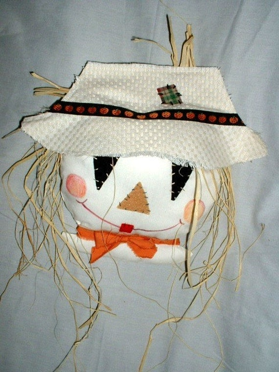 Wall or Door Hanging, Scarecrow Face, Halloween, Fall Decor, Only 2 Left