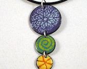 Multi-colored, Enamel, Trio Pendant