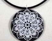 Black and white enamel pendant