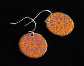 Enamel earrings - orange and purple ornamental design