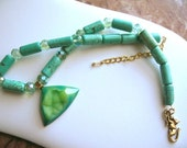 Lime Frost ... green druzy, turquoise magnasite, Czech fired faceted rondelles .. #304