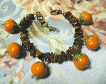 The Pumpkin Patch  ... bracelet, tigereye chips, lampwork glass pumpkins .. #71