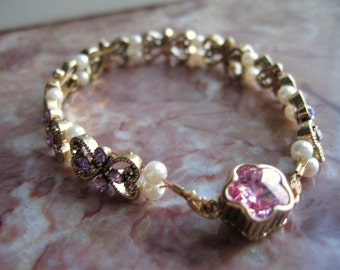 Pink and Lavendar Swarovsky crystals .... Sparkly Chic ...... to adorn your wrist or for a special gift .. #72