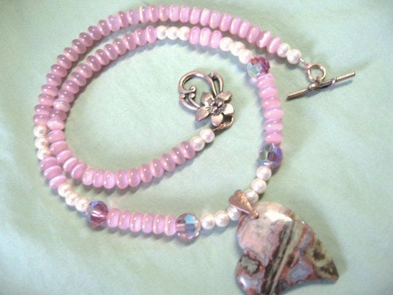Wild Hearts ... can't be broken ... natural agate stone heart, pink cats eye, copper .. #64