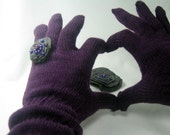 Long Knit Full Fingered Gloves Purple Gray Ring Pin Mittens winter fashion