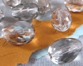 Czech Glass Teardrop Beads - Platinum - Fire Polished - Faceted - 8 Count