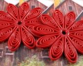 Flexible Red Plastic 35mm Swirl Flower Beads - 2 Count
