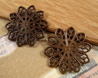 Filigree Daisy Connectors from Trinity Brass in Vintage Patina - 2 Count