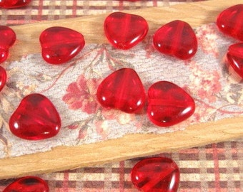 Czech Ruby Red 12mm Heart Glass Beads - 20 Count