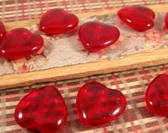Czech Ruby Red Glass Heart 15mm Beads - 10 Count
