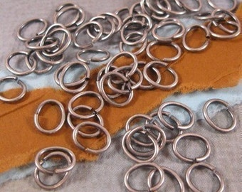 Oval Jumprings in 7x6mm - 18 Gauge from Trinity Brass in Antique Silver - 50 Count