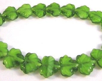 Czech Maple Leaf 10x13mm Green Glass Beads - 20 Count
