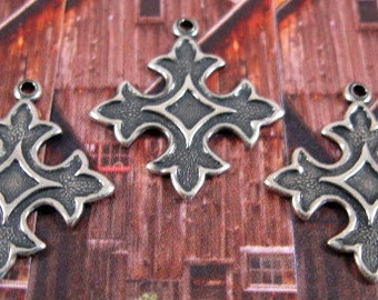 Cross Charms from Trinity Brass in Antique Silver - 3 Count