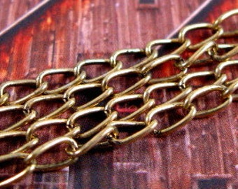 6mm Elongated Curb Chain from Trinity Brass in Antique Gold - 3 Feet