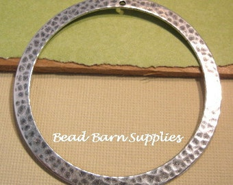 Hammered 54mm Ring Pendant from Trinity Brass in Antique Silver