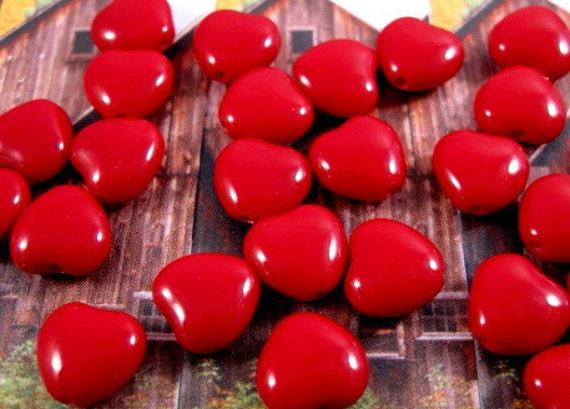 Czech Glass 6mm Heart Beads - Opaque - Blood Red - 25 Count