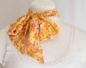SALE yellow floral print scarf, headband, hair tie, flower headband, handmade, head scarf, stacylynnc