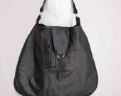 recycled black leather hobo bag