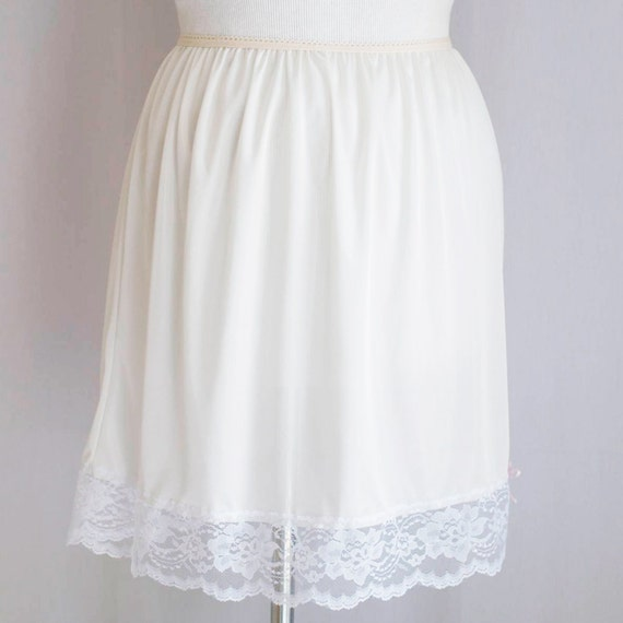 small white lace slip