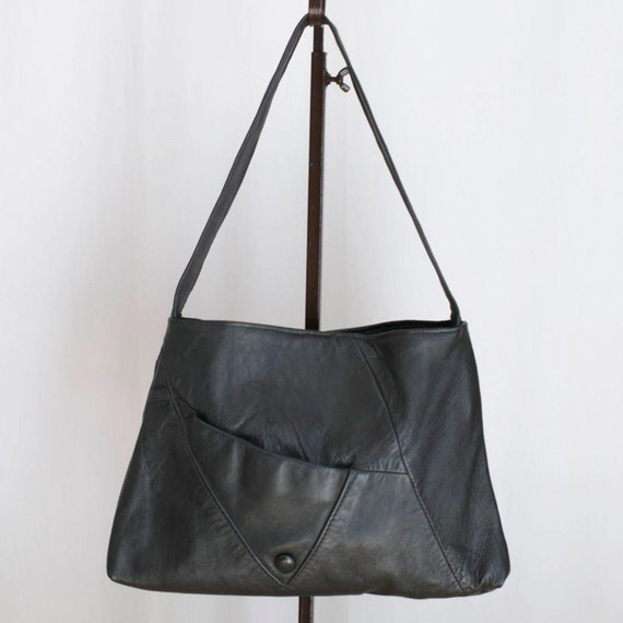 SALE recycled black leather baguette