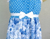 Polka Dots And Blue Roses Sundress Cotton