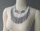 One Of A Kind Hand Dyed Fringe And Rhinestones Bib Necklace