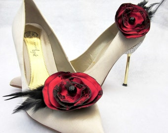Black  And Red Satin Flowers And Feathers Shoe Clips