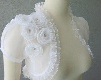 Wedding Bolero Shrug White Chiffon  With Flowers and Rhinestones and Lace Trim