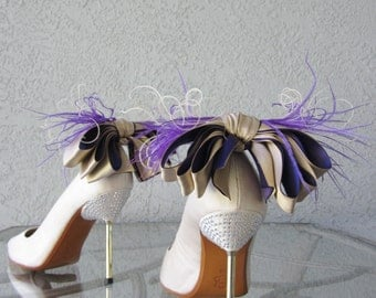 Nude And   Purple Satin Ribbon Bow And Feather Shoe Clips