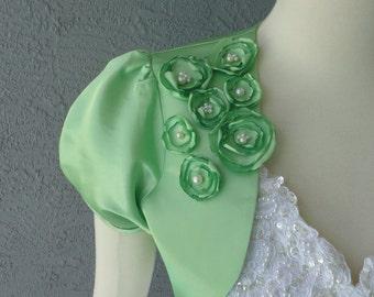Wedding Bridal Celery Or Kelly Green Bolero Shrug With Flowers and Rhinestones