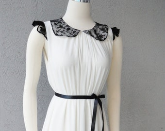 Ivory Chiffon And Black Lace Peter Pan Collar Shift Dress Cocktail Party