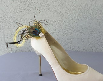 Wedding Bridal Party Peacock  And Yellow Dyed Guinea Feather Shoe Clips Set Of Two 8 Rhinestones Center To Choose From