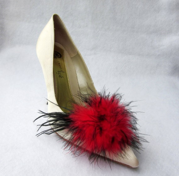Red And Black Feathers Shoe Clips