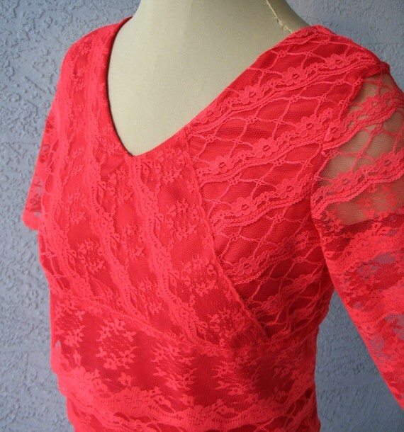 Party Dress Multi Tiers Red Lace Dress