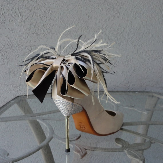 Bridal Party Wedding Nude And Black Satin Ribbon Bow And Feather Shoe Clips Set Of Two