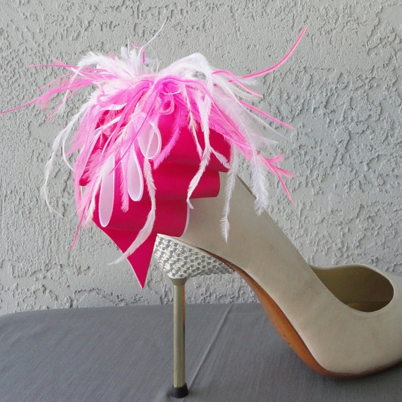 Bridal Formal Sexy Shoe Clips Hot Pink And White  Satin Ribbon Bow And Feather More Colors Available