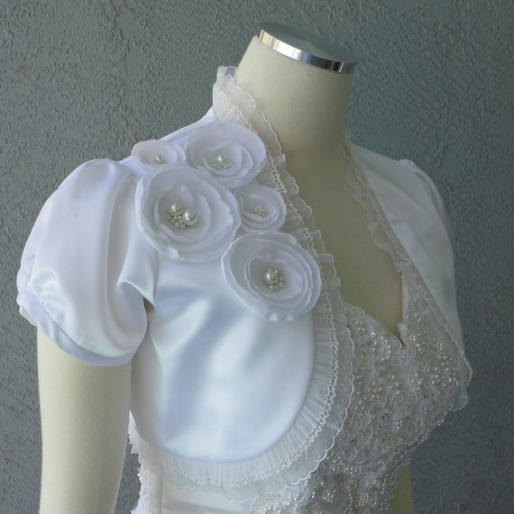 Wedding Bolero Shrug White Satin With Faux Pearls And Lace Trim ALL SIZES AVAILABLE