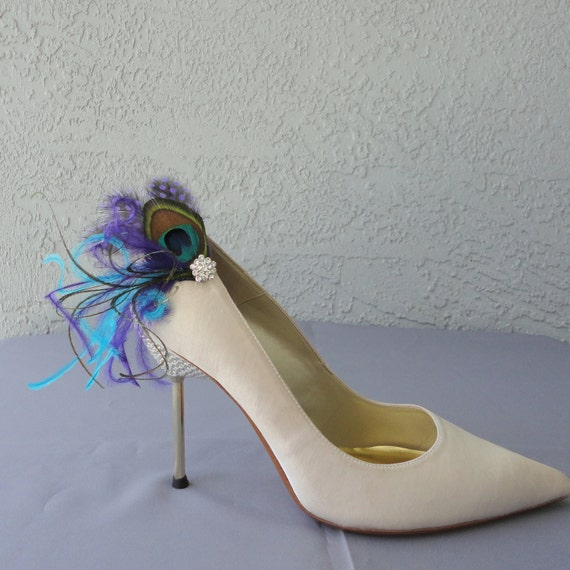 Wedding Bridal Party Peacock  Purple Dyed Guinea And Blue Ostrich Feather Shoe Clips Set Of Two