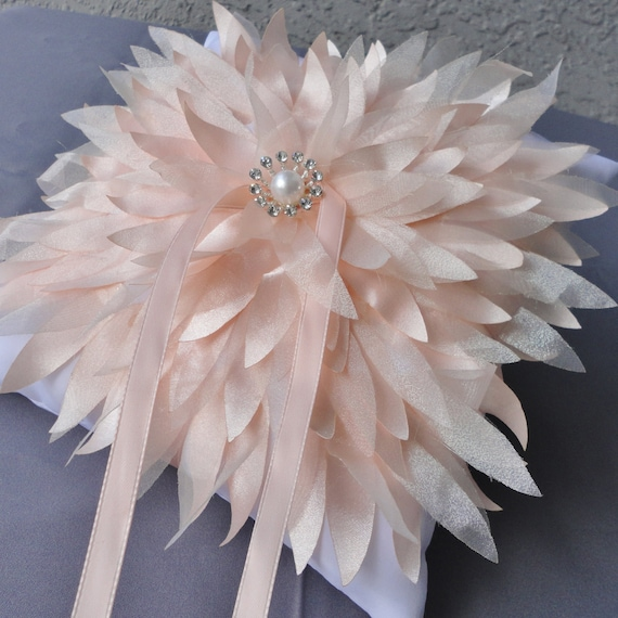 One Of A Kind Wedding Big Peach Color Chrysanthemum On A White Ring Bearer Pillow