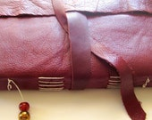 Raspberry Leather Stitched Journal - Red Long Stitch Blank Book