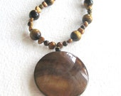 Brown Eyed Girl Necklace - Tiger Eye, Copper Pearls
