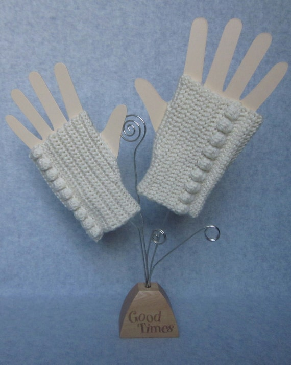 Cream Crochet Fingerless Gloves - Womens Fingerless Mittens with Bobble - Fall Fashion Accessories