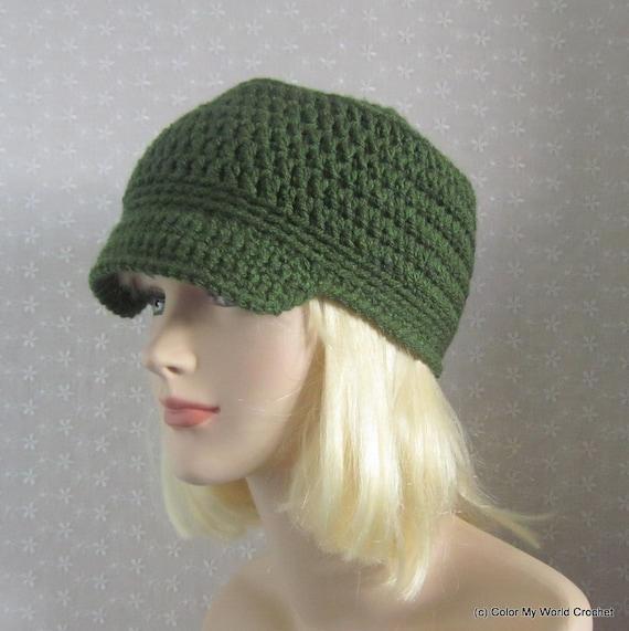 Green Cadet Crochet Hat Womens Military Cap Fall Winter