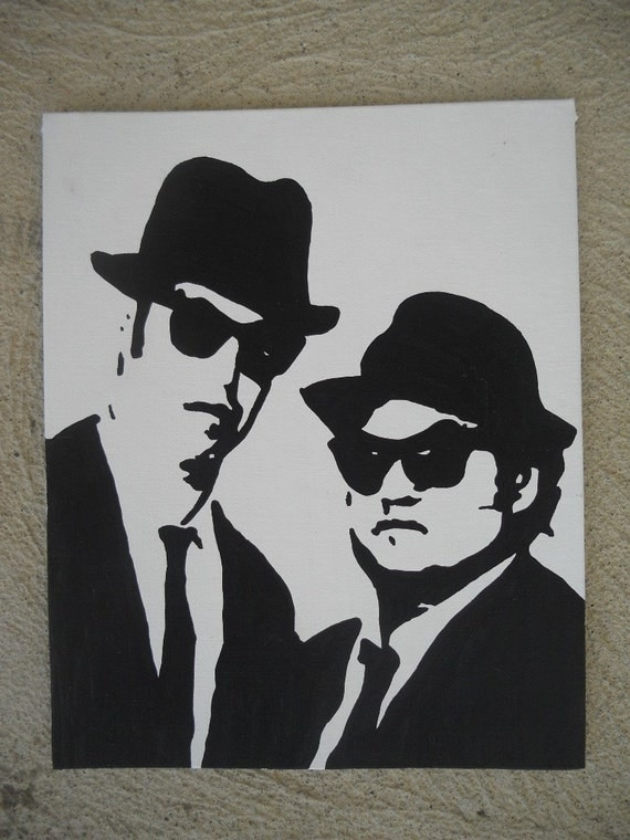 The Blues Brothers Pop Art Painting - Miniature - 8x10- clearance - WAS 24.00
